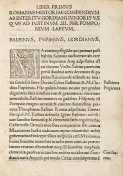 Romanae historiae compendium ab interitu Gordiani iunioris usque ad Iustinum III.