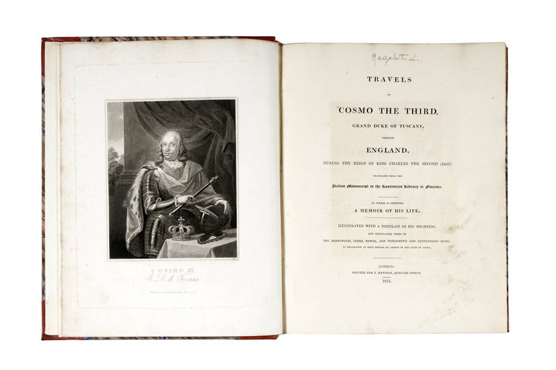 Travels of Cosmo ( de' Medici) the Third, Grand Duke of Tuscany, through England, during the Reign of King Charles The Second (1669)....Translated from the Italian Manuscript in the Laurentian Library at Florence.