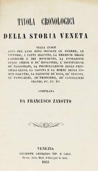 Tavola cronologica della Storia Veneta nella quale anno per anno sono segnate le guerre, le vittorie, i fatti illustri...