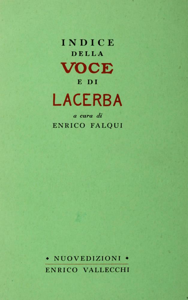 Indice della Voce e di Lacerba a cura di Enrico Falqui.