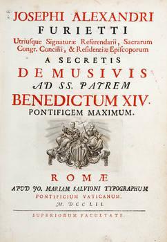 De musivis ad SS. Patrem Benedictum XIV. Pontificem Maximum.