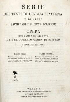 Serie dei testi di lingua italiana e di altri esemplari del bene scrivere. Opera nuovamente rifatta e divisa in due parti.