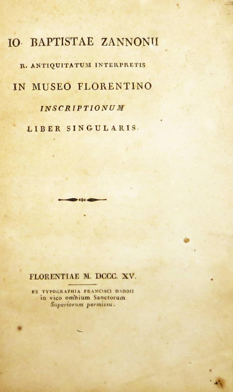 In Museum Florentino inscriptionum liber singularis.