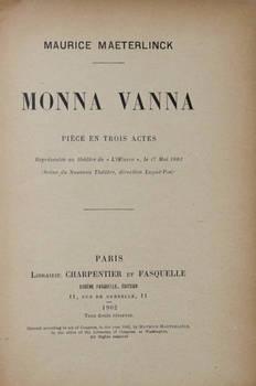 Monna Vanna. Pièce en trois actes.