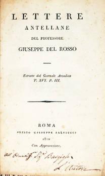 Lettere Antellane. Estratte dal Giornale Arcadico T. XVI. P. III.