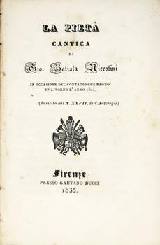 La Pietà. Cantica...in occasione del contagio che regnò in Livorno l'anno 1804.