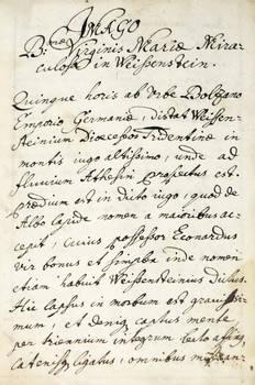Imago B.ma Virginis Maria Miraculosa in Weissenstein (in latino).
