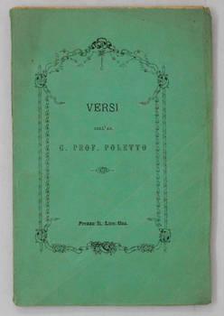 Versi dell'abate Giacomo Poletto membro di più accademie pontificie e reali.