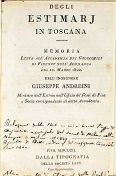 Degli estimarj in Toscana. Memoria...
