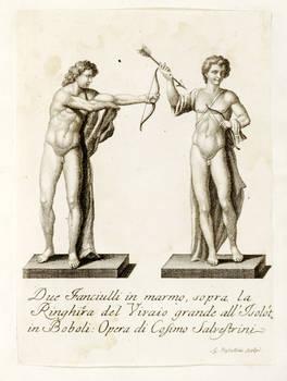 Raccolta di 21 incisioni in rame eseguite da G. Vascellini con statue site nel Giardino di Boboli.